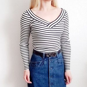 H&M Divided Ribbed Black White Striped Tee 573